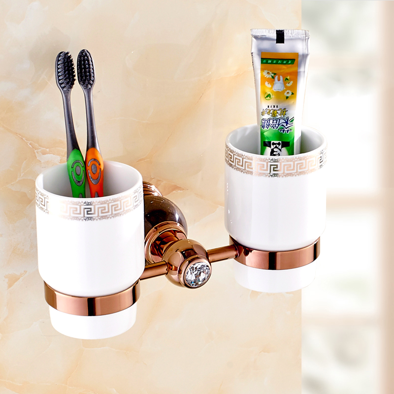 Jade Toothbrush Cup Bathroom Toothbrush Holder Cup Holder Ceramic Creative Toothbrush Cup Marble Rose Hold European Brass полочки для ванной комнаты animal silicone toothbrush holder cute animal silicone toothbrush holder