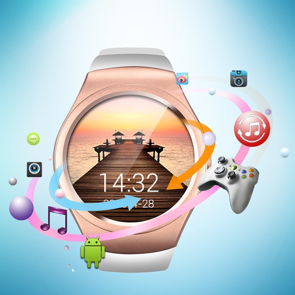 Fashional Multifunctional Bluetooth Smart Watch Full Circle Touch Screen Watch Sport Fitness Pedometer Support SIM TF Card