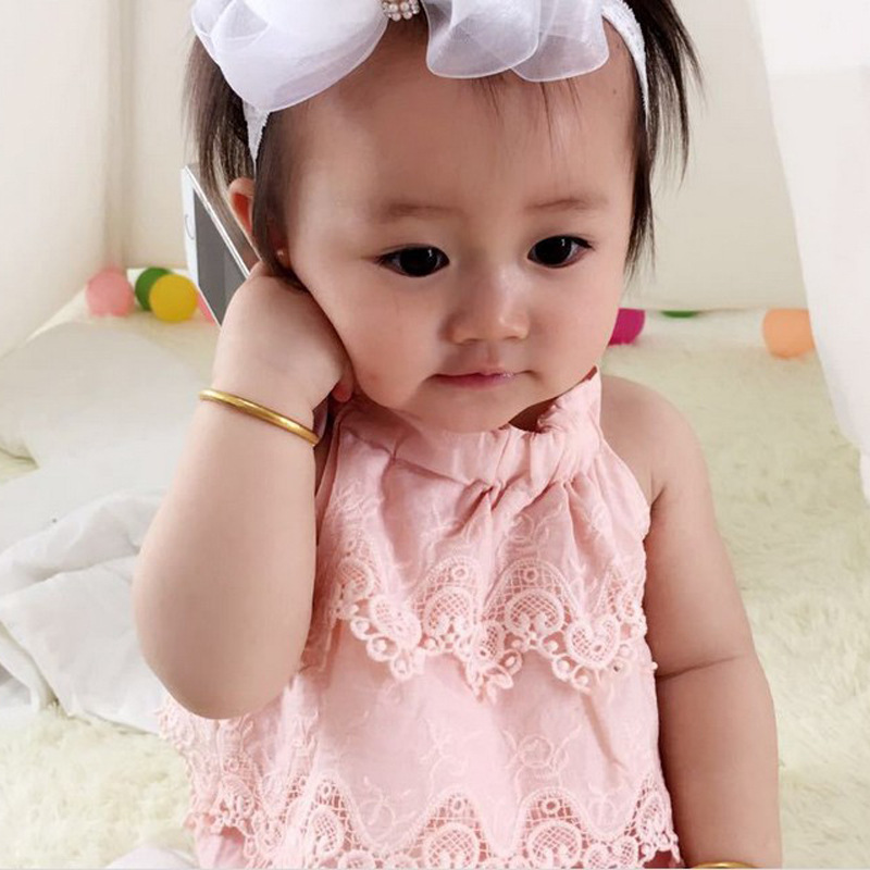 2017 Summer Newborn Baby Girls 3 Colors Sleeveless Solid Candy Color Lace Rompers Cute and Sewwt