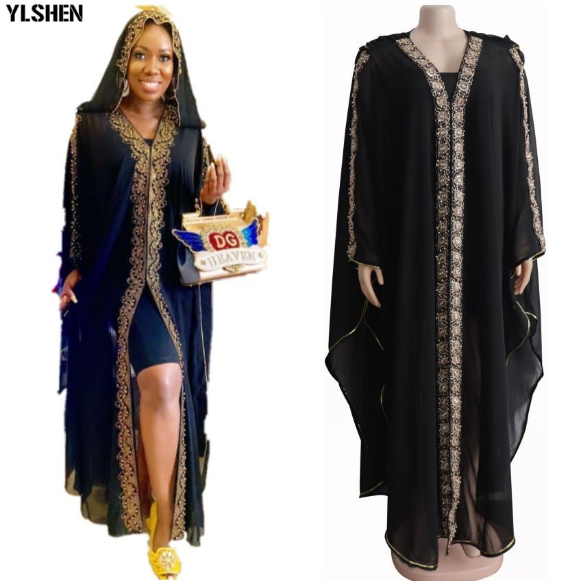 African Dresses For Women Chiffon African Clothes Dashiki Bazin Riche Ladies African Clothing Hoodie Long Africa Dress 2 Pc Set