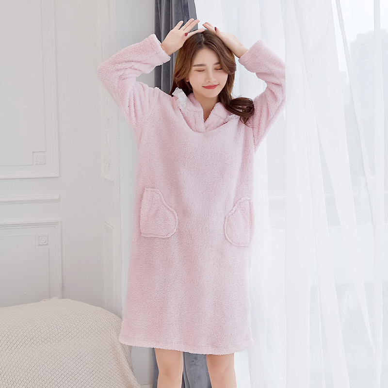 Winter Thick Women   Nightgown   Flannel Nightdress Long Sleeve Cartoon   Sleepshirt   Sleepwear Warm Nightwear Casual Home Dress