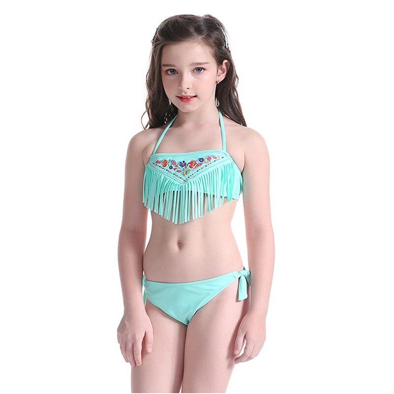 Baby Kids Bikini 2017 Children Swimsuit Summer Tassel Beach Dress Two Pieces Swimwear Girls Swimming Wear Halter Bathing Suit