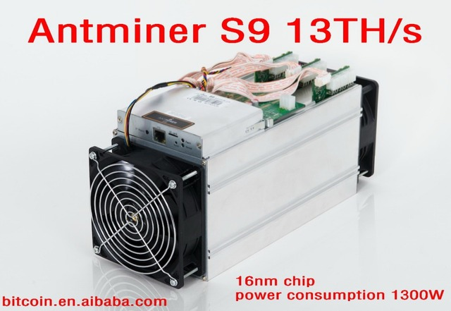 2017 New AntMiner S9 13TH/s 13000GH/s Asic Miner Bitcon Miner 16nm BTC Mining Power Consumption 1300W SHA256 Bitmain BM1387 chip