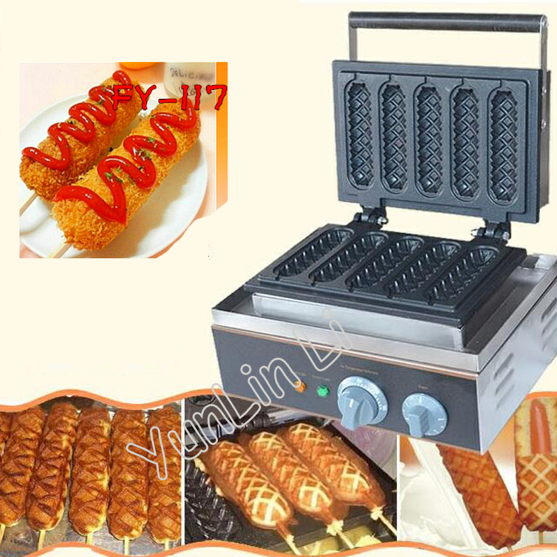 5 Sticks Waffle Stick Maker Electric French Hot Dog Baker 110V 220V Commercial Use Electric Lolly FY-117