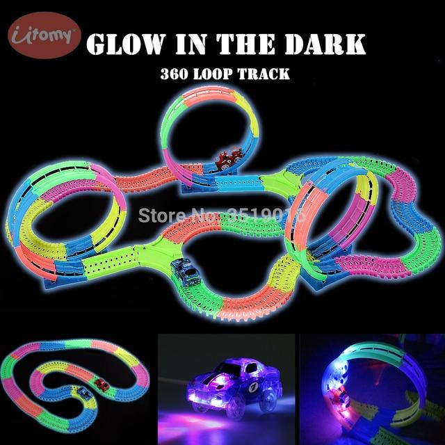 Brilha no escuro trilho diy, faixas mágicas 360, montagem flexível, pista luminosa, carro de corrida com luz led veículos para cima