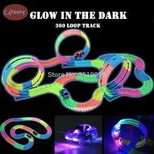 어둠 속에서 빛나는 DIY 레일 마법의 트랙 360 스턴트 루프 유연한 어셈블리 빛나는 트랙 레이스 자동차 LED 라이트 업 차량