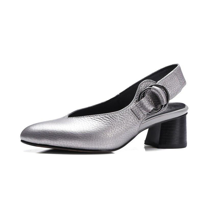 ZVQ cuero genuino 33 43 zapatos de gran tamaño zapatos de mujer zapatos ahuecados tacones 4,5 cm punta puntiaguda moderna concisa carrera zapatos de otoño zapatos-in Zapatos de tacón de mujer from zapatos    2