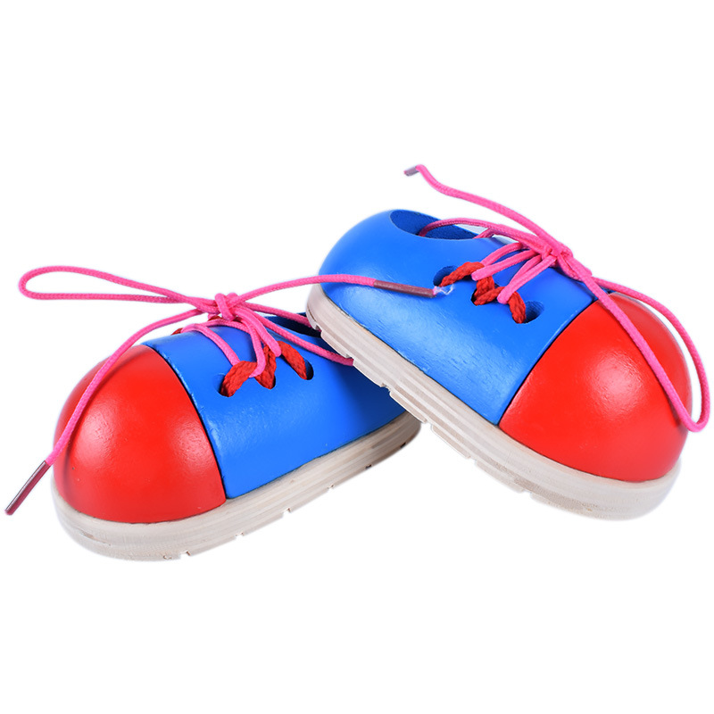 Image 3 - 1Pcs Random Kids Montessori Educational Toys Children Wooden Toys Toddler Lacing Shoes Early Education Montessori Teaching Aids-in Puzzles from Toys & Hobbies