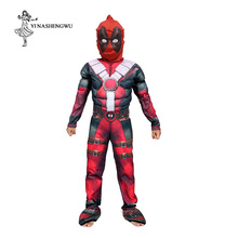 Deadpool Costume with Mask Superhero Cosplay Suit Anime Boy Kid One Piece Full Bodysuit Halloween kid Costumes for party