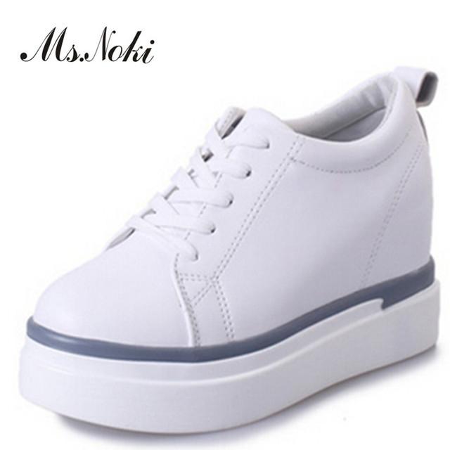 Plata bordeado mujeres zapatos casual 2016 otoño nueva punta redonda lace up heigt creciente blanco zapatos de plataforma de la moda de las mujeres zapatos