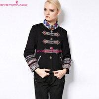 Femmes automne veste ethnique fleur broderie unique poitrine vestes courtes casual travail laine veste manteau pardessus casaco 8007