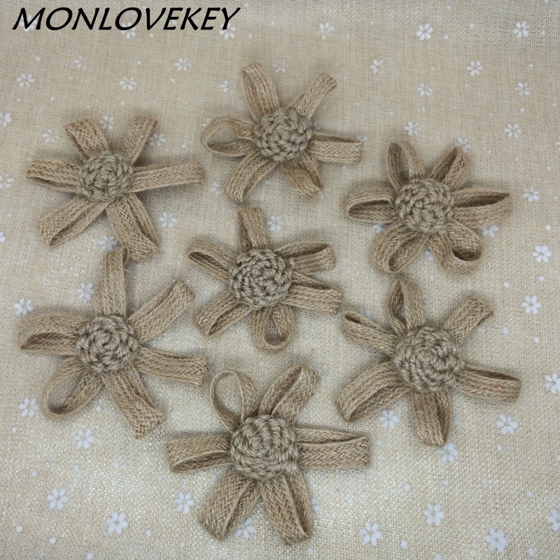50pcs Handmade Jute Hessian Burlap Flowers Rose Shabby ...