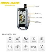 Steelmate 986XO 2 Way Motorcycle Alarm System Remote Engine Start Water Resistant ECU LCD Transmitter Motorcycle