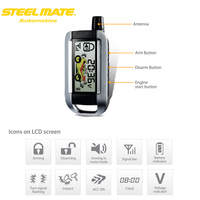 Steelmate 986XO 2 Way Motorcycle Alarm System Remote Engine Start Water Resistant ECU LCD Transmitter Motorcycle