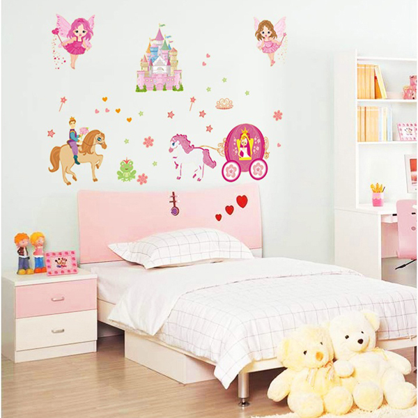 Large Princess Castle Fairy Wall Decals Stickers Mural Kids Room Decor China