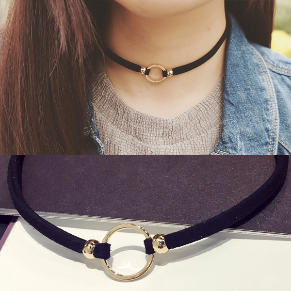 New Fashion Suede Velvet Choker Necklace Black Cord Gold Color Round Circle Punck Choker Vintage For Girl Women ras de cou