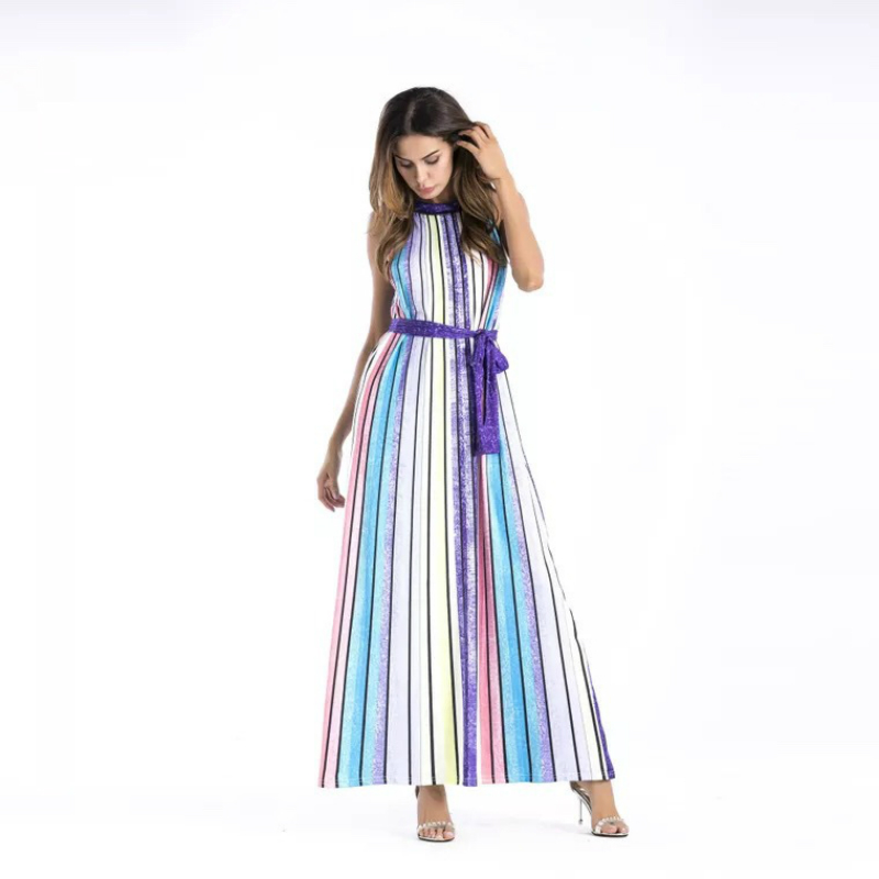 Dresses 2017 New Hit Color Striped Dress Long Female Regular Dress See Through sleeveless O Neck Ladies Chic Casual