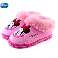 Disney Minnie Mickey inverno mais grossa de veludo sapatos casa de algodão com interior quente sapatos das crianças