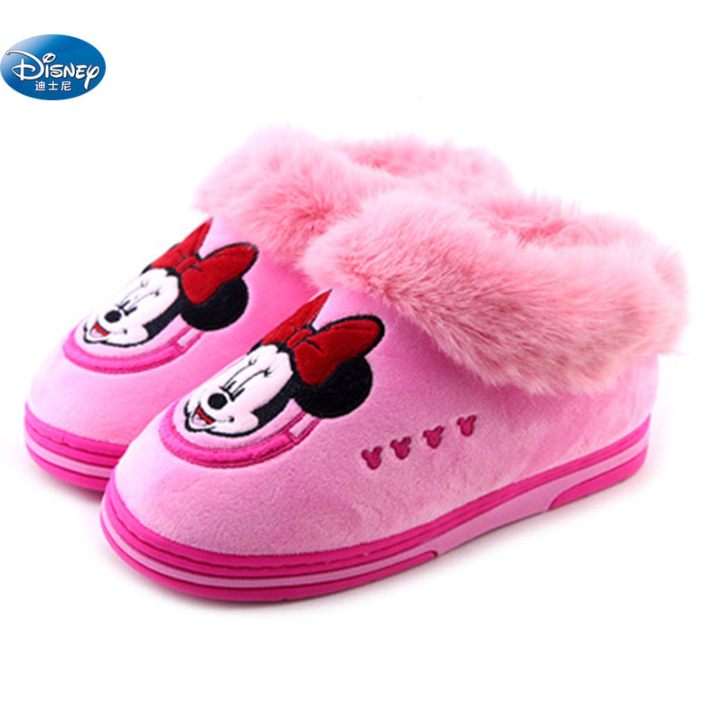 Disney Minnie Mickey Winter Plus Velvet Thick Home Cotton Shoes With Indoor Warm Children's Shoes