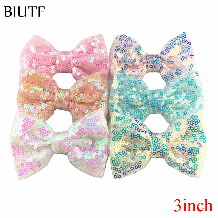 120pcs 9.5 cm Brillant Sequin hair bows Applique Paillettes hairbows nœud sans clips