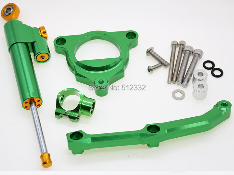 CNC Adjustable Motorcycle Steering Damper Stabilizer Linear Reversed & Bracket Kit Mount Safety Control For KAWASAKI Z800 13-15