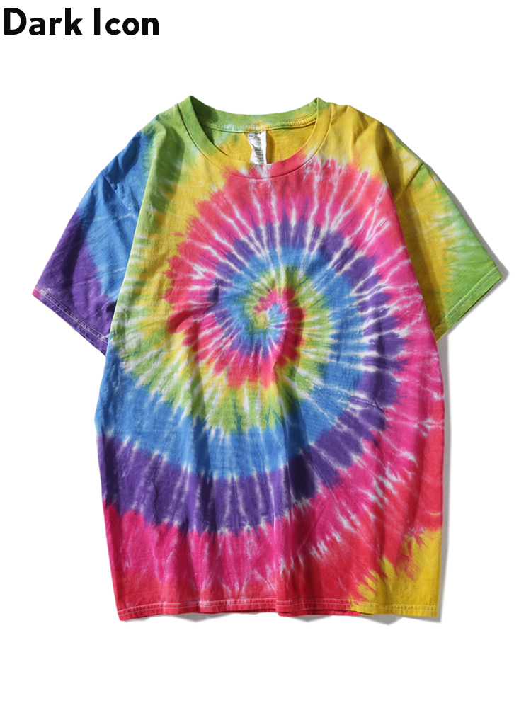Dark Icon Paisley Tie Dye T-shirt Men 2019 Summer Round Neck Hiphop Tshirts Cotton Casual Tee Shirts