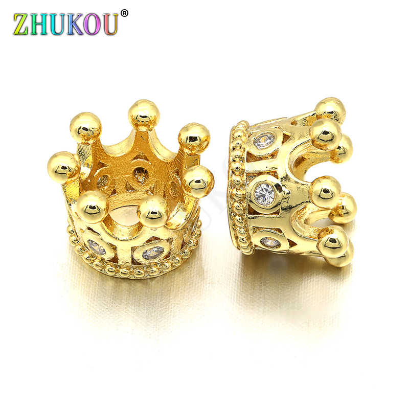11*8mm High Quality Brass Cubic Zirconia Crown Tassel Cap Pendant Charms, Mixed Color, Hole: 0.5mm, Model: VM12