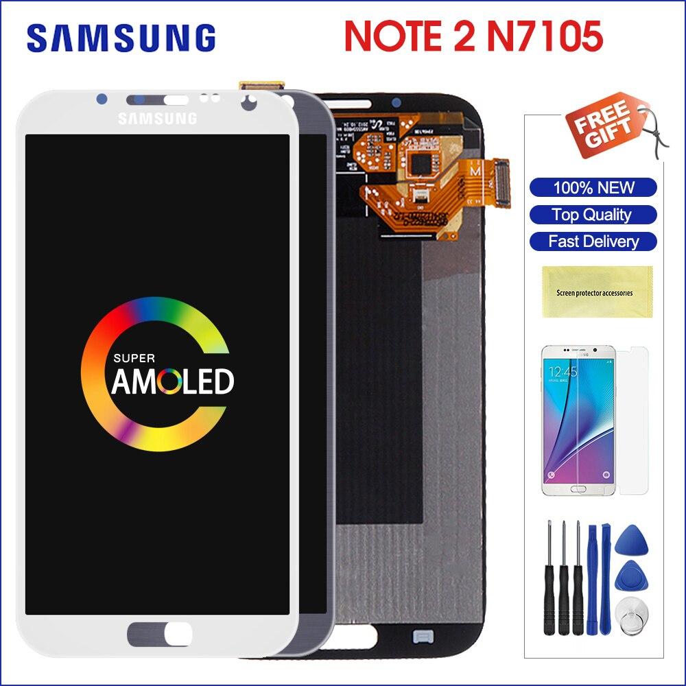 Affichage pour SAMSUNG Galaxy Note2 LCD Super AMOLED écran tactile numériseur pour SAMSUNG Note 2 affichage i605 N7100 N7105 i317 T889