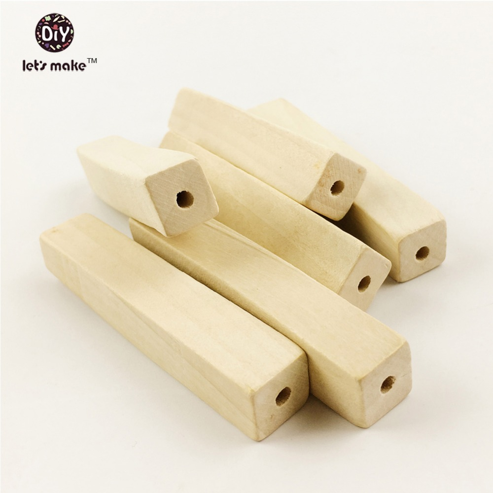 Let's make Unfinished Natural Wood Long Cuboid Beads Blocks(7cm 20pc)Unfinished Geometry Chunky Column Montessori Teether