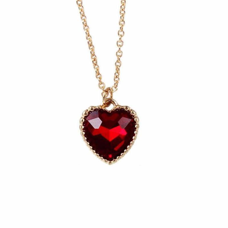 O novo amor/coração colar fonte de jóias fábrica por atacado original macio meng irmã clavícula de vidro vermelho corrente