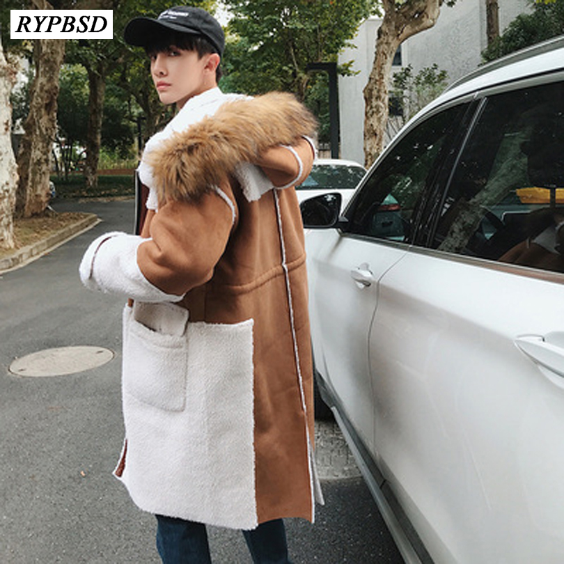Winter 2019 New Korean Fashion Thick Long   Trench   Coats Mens Fur Collar Cotton Hooded Overcoat Loose Zipper Woolen Winter Coat