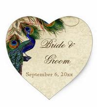 1.5inch Peacock & Feathers Formal Wedding Favor Seals Tags Heart Sticker