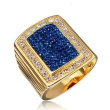 Блестящее кольцо желтое золото плотное браслет женские и мужские