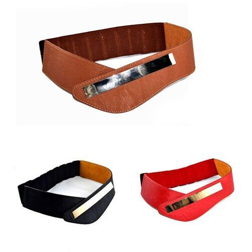 2016 Fashion Womens Cowskin Metal Mirror Elastic Waist Belt  Genuine Leather Wide  Red Brown Dress Belts For Women M040