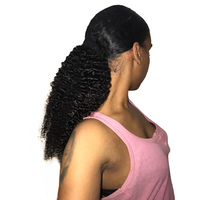Kinky Curly Ponytail For Women Brazilian 3B 3C Natural Black Clip In Ponytails Human Hair Extensions Remy