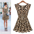 Vestidos de leopardo Super elástico Sexy vestido de colete venda quente boate vestido de festa Corset S / M / L / XL frete grátis