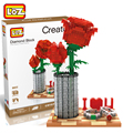 LOZ Small Particle Diamond Building Blocks Assembling Toy Valentine's Day Gift Rose 3D Static Model Minecraft Creator Decorate