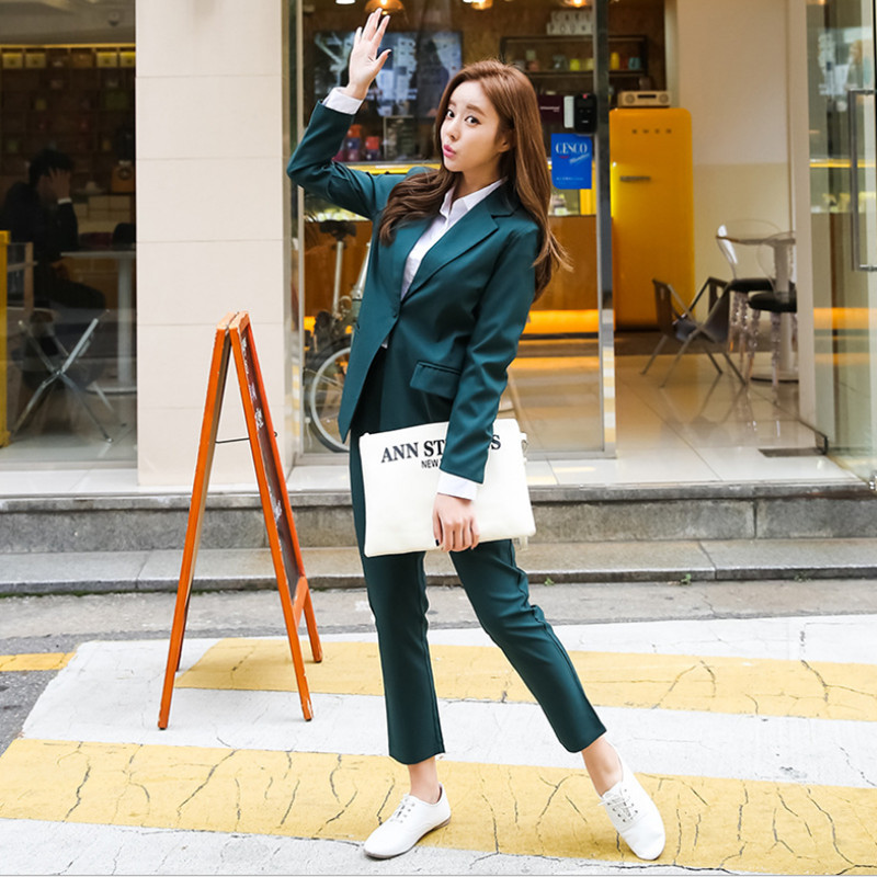 2018 Spring Autumn Business Women 2 Piece Interview Suit Set Uniform Long sleeved Blazer and Pencil Pant Office Lady Suits