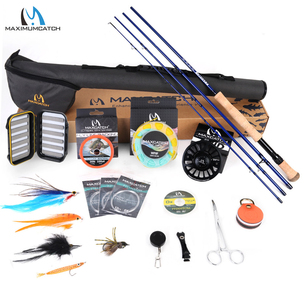 Maximumcatch Predator 9ft 8-10WT Complete Saltwater Fly Rod Reel Line Hooks Accessory Combo Full Sea Fly Fising Rod Kit