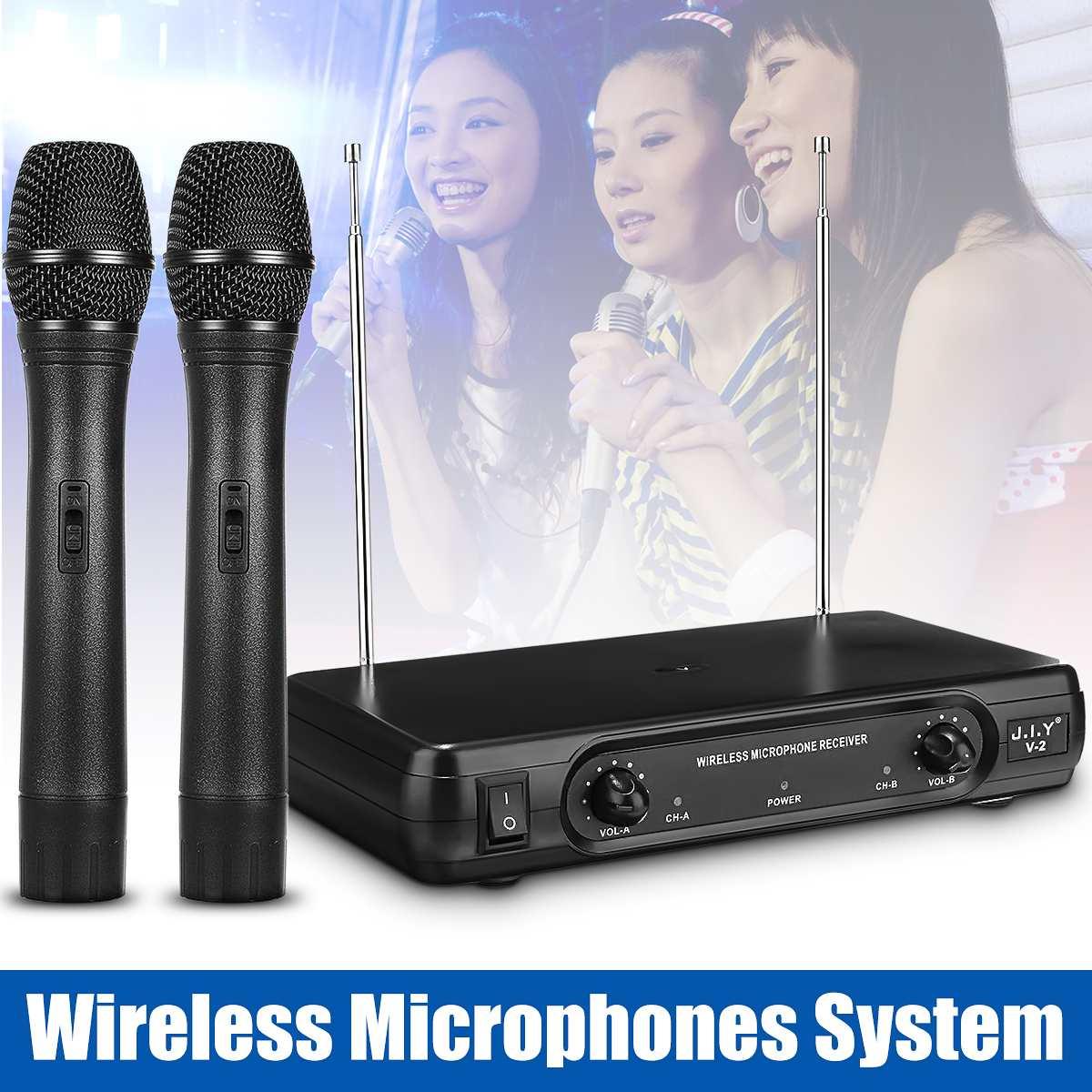 sem fio microfone handheld microfone receptor microfones karaoke com 2 microfones