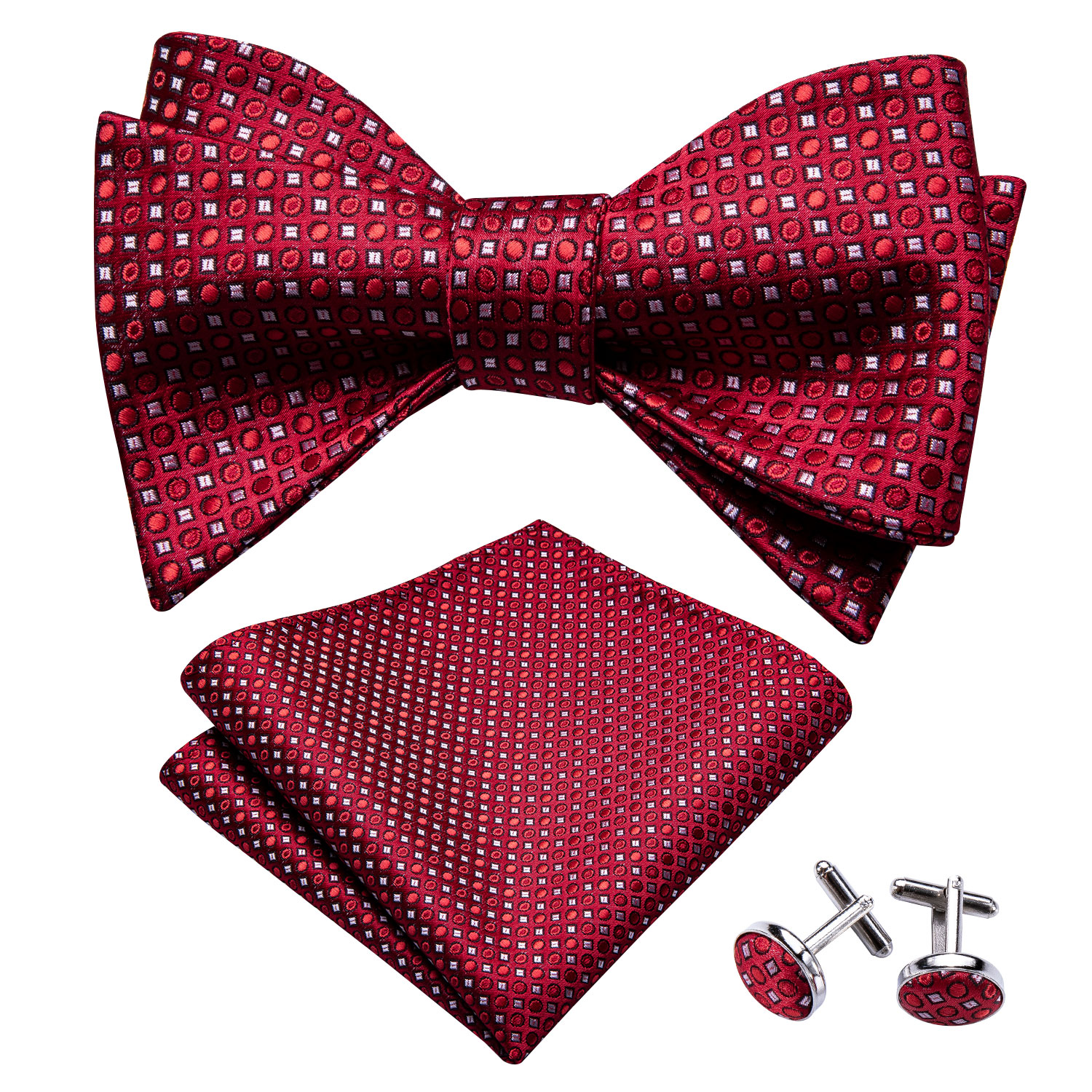 Self Bow Ties For Men Silk Butterfly Men Tie Dark Red Polka Dot Hanky Cufflinks Suit Collar Removable Necktie Barry.Wang LH-1019