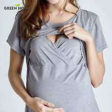 Green Home Summer Maternity Nursing Top For Pregnant Women Daily Wearing Pregnancy Clothes With Casual Style Pregnancy T-Shirt