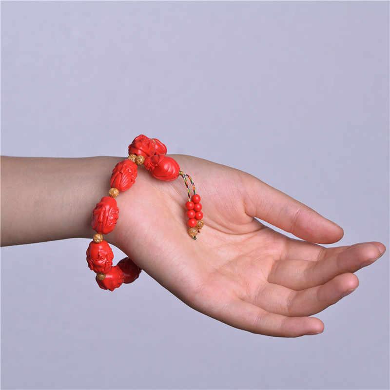 Naturalne cynober 18 arhatów budda koraliki bransoletki złoty liść koraliki buddyjski męskie bransoletki Strand bransoletka biżuteria zrób to sam Dropshipping