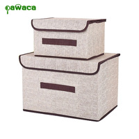 2Pc Set Office And Home Non Woven Fabric Storage Box With Lids Large Foldable Storage Box