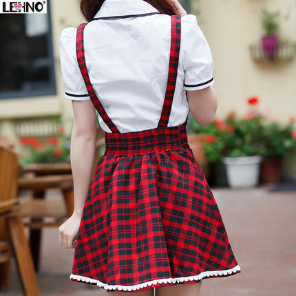 8762ad43cf2 Preppy style overalls Red plaid England students dress Fashion school  uniform 2015 new Promotion High quality Women s dress-in Dresses from Women s  Clothing ...