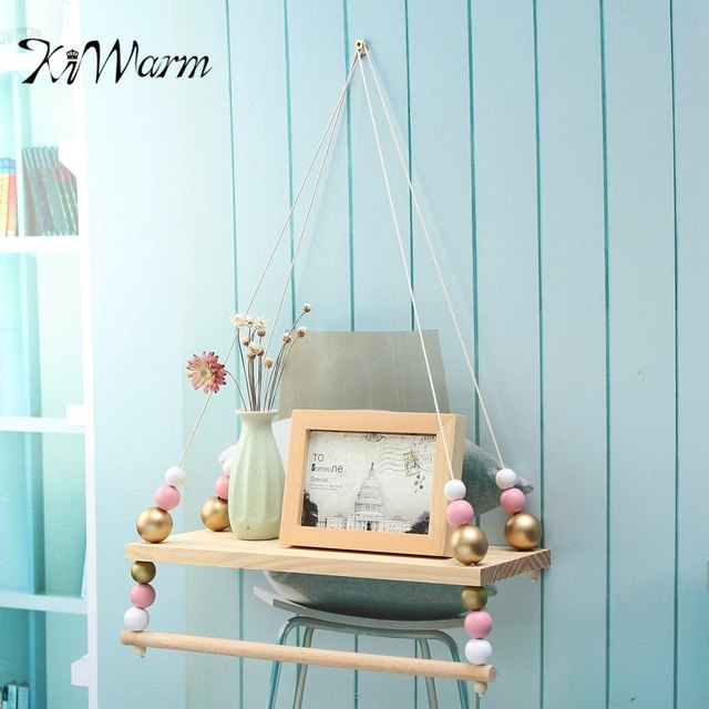 KiWARM 1pcs Cute Wood Hanging Wall Shelf Swing Storage Shelves Boys Girls Home Room Decor Gifts