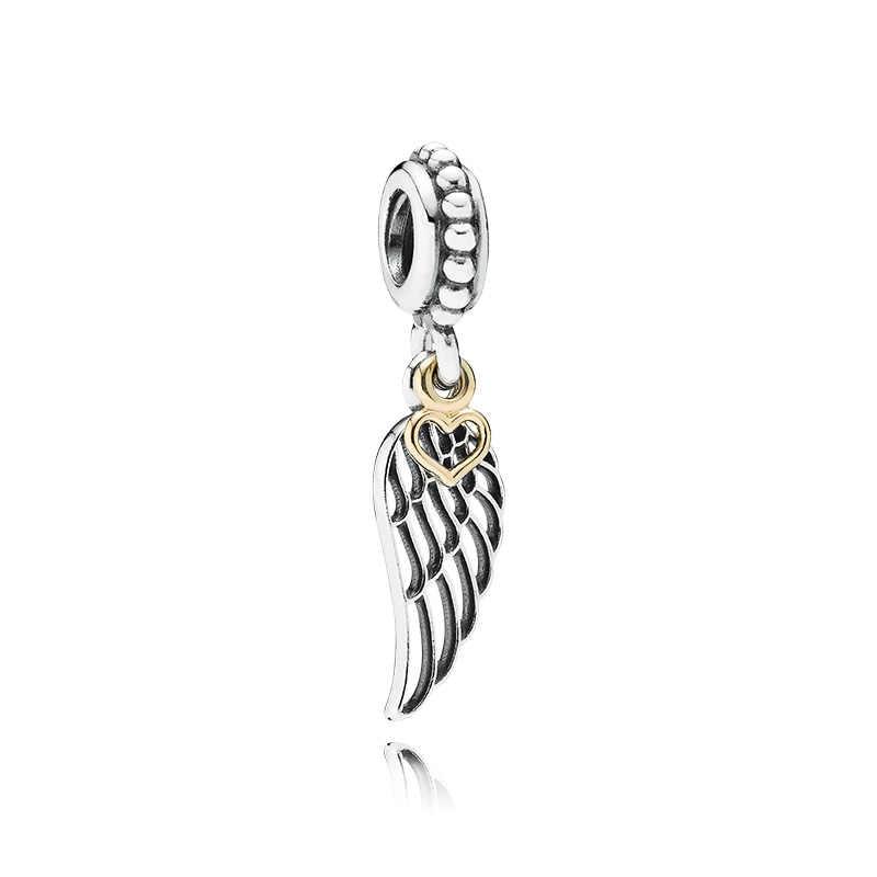 小さなステートメント木愛ハートフクロウ魚天使の羽ハムサの手のペンダントビーズフィットパンドラ作るの腕輪ジュエリーギフト