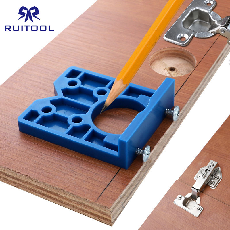 35mm Hinge <font><b>Jig</b></font> ABS Plastic Hinge Installation Pocket Hole <font><b>Jig</b></font> <font><b>Wood</b></font> Drill Hinge Boring Furniture Door Cabinets <font><b>Tool</b></font> For Carpentry image