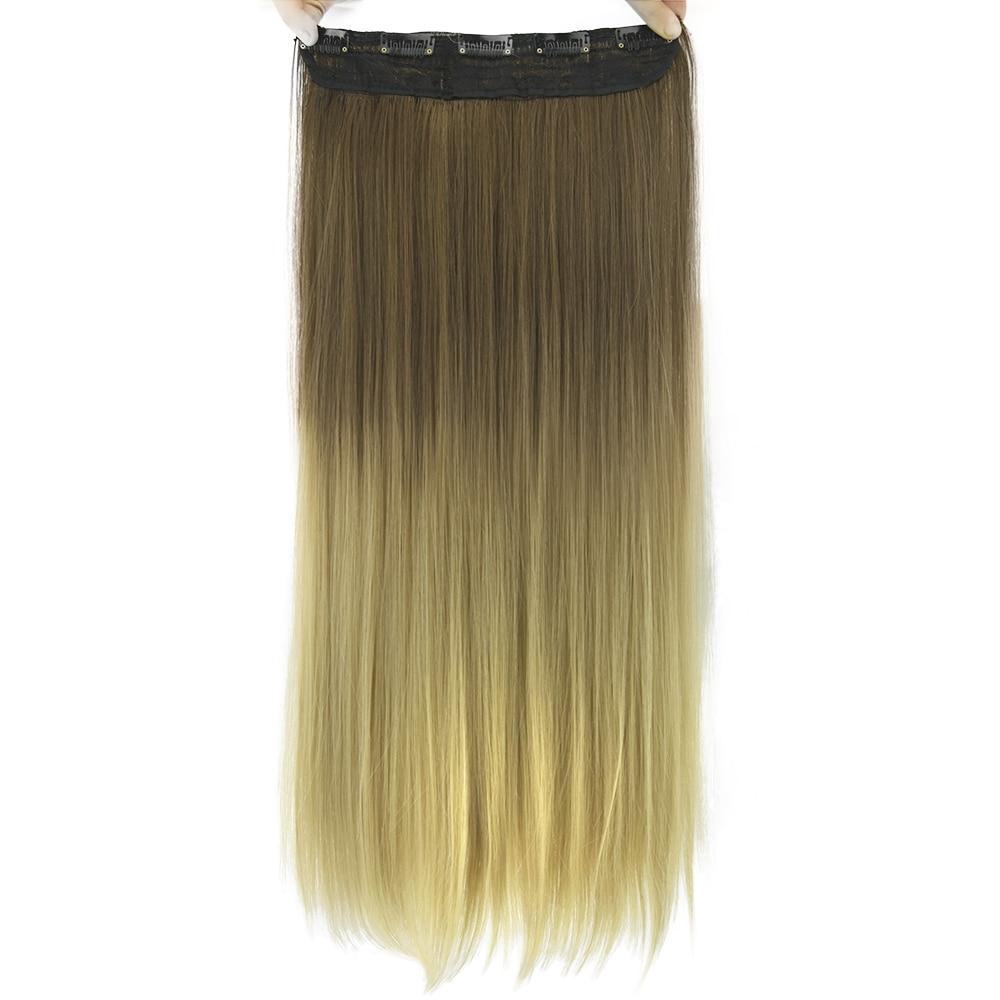 Soowee-Extensión de cabello de una pieza, pelo sintético con pinza, color marrón, degradado, arcoíris, 60cm