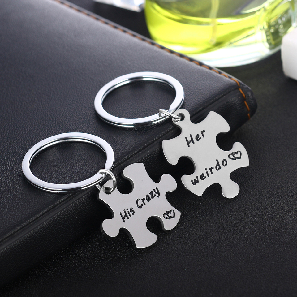 Hot Her Weirdo His Crazy Silver Keychain Couple Key Ring Valentine/'s Day Gift WE
